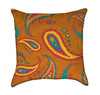 Mustard Paisley over Orchre Throw Pillow