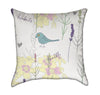 Vintage Teal Bird with Foliage Throw Pillow