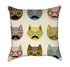 Nerdy Cat Heads Throw Pillow