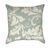 Moss Green White Filigree Flourish Throw Pillow