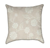 White Aster Flowers on Beige Throw Pillow