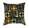 Canary Yellow Anchors and Green Helms Nautical Throw Pillow