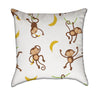 Silly Monkey Kids Throwing Bananas Throw Pillow