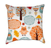 Cartoon Owls and Wabbits in Nature Throw Pillow