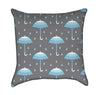 Little Boy Blue Rain with Umbrella Throw Pillow