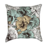 Peach and Teal Pansy Floral Throw Pillow