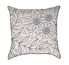 Delicate Periwinkle Floral Over Beige Throw Pillow