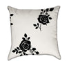 Delicate Romantic Roses Black and White Throw Pillow