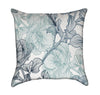 Light Blue and Green Rose Floral Throw Pillow