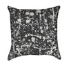 Kids Paint Splatter Black and Grey Throw Pillow