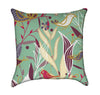 Moss Green Abstract Jungle Scene With Birds Throw Pillow