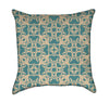 Clover Knotwork in Tourquoise on Tan Throw Pillow