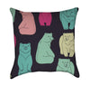 Colorful Retro Bears on Expresso Throw Pillow