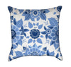 Blue English Fine China Garden Flowers Throw Pillow