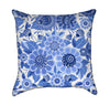 Blue English Fine China Garden Flowers Floral Bouquet Throw Pillow