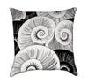 Black and White Asian Nautilius Shells Nautical Throw Pillow