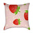 Strawberries and Polka Dots on Bubble-Gum Pink Throw Pillow
