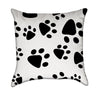Kids Dalmation Paw Print Black and White Throw Pillow