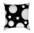 White Polka Dots on Black Throw Pillow Back View