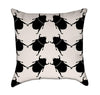 Bigger Beetle Army Black Insects on Crème Throw Pillow
