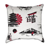 Japanese Temple Red Black and White Geisha Themed Throw Pillow
