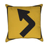 Left Turn Yellow Road Sign Throw Pillow