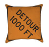 Detour 1000 Feet Road Work Orange Construction Throw Pillow