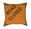 Road Closed Road Work Construction Orange Throw Pillow