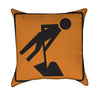 Man Shoveling Road Work Orange Construction Throw Pillow