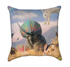 Bunnies and Fantasy Triceratops Throw Pillow