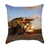 Peaceful Yellow Dump Truck at Sunset Throw Pillow