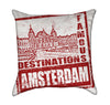 Red Amsterdam Stamp Travel Throw Pillow