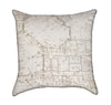 Tan Architectural Blueprint on Beige Throw Pillow