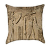 Isis and Crocodile God Seth Egyptian Heiroglyphics Beige Throw Pillow