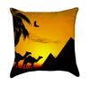 Egyptian Camels and Pyramid African Sunset Throw Pillow
