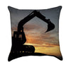 Construction Crane Sunset Scene Throw Pillow