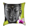 Buddha Face Lime Green Zen Spa Throw Pillow