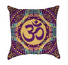 Orchre Peach and Turquoise Zen Aum Throw Pillow Back View