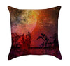 Grunge Rust Red and Orange Asian Silhouetted Landscape Throw Pillow