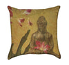 Neutral Brown Toned Budda With Orchids Throw Pillow