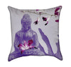 Lavender Buddha With Magenta Orchids Zen Throw Pillow
