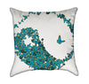 Tourquoise Butterfly Yin Yang Zen Yoga Throw Pillow