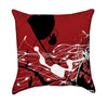 White and Black Paint Splatter over Cherry Apple Red Graffiti Throw Pillow