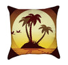 Orange and Brown Tropical Sunset Hawaii Throw Pillow