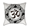Black and White Aum Zen Mandalla Yoga Throw Pillow