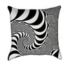 Black and White Mandelbrot Op Art Warp Throw Pillow