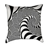 Black and White Mandelbrot Op Art Warp Throw Pillow - Back View