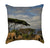 Sunny African Scene with Elephants Grazing by Mount Kilimanjaro Throw Pillow