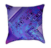 Nerdy Electric Blue and Lavender Computer Geek Throw Pillow