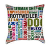 Dog Breeds Word Lovers Throw Pillow